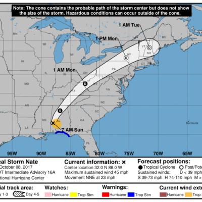 Tras tocar tierra en EU, huracán 'Nate' se degrada a tormenta tropical