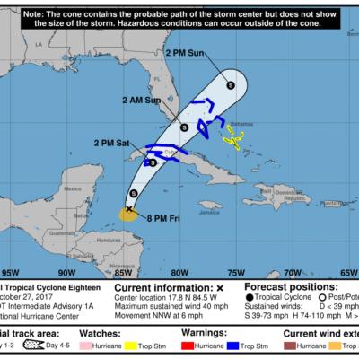 Se forma depresión tropical en el Caribe y trayectoria estimada amenaza a Cuba