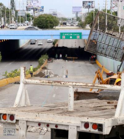 Concluirá BJ solución definitiva al drenaje del paso vehicular de Bonfil en última semana de octubre