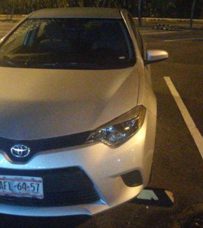 Aseguran en aeropuerto de Cancún coche robado en Aguascalientes