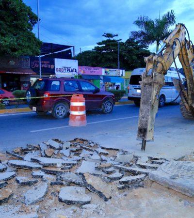 ALGUIEN PIENSA EN LOS PEATONES: Amplían banquetas de la Avenida Juárez en Playa del Carmen