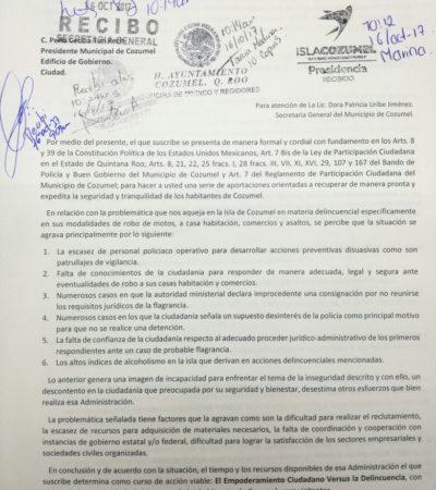 Piden mesas de trabajo y comités vecinales para atender problema de inseguridad en Cozumel