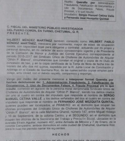 Denuncian a Sergio Cetina Valle por no respetar Toma de Nota en conflicto sindical en el Suchaa