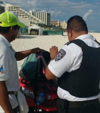 Retiran a ambulantes sin permisos de la Zona Hotelera de Cancún