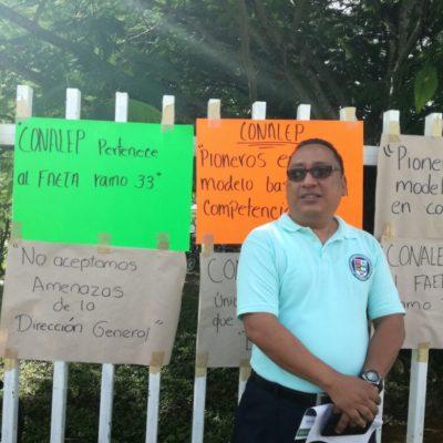 Protestan maestros de Conalep de Cozumel