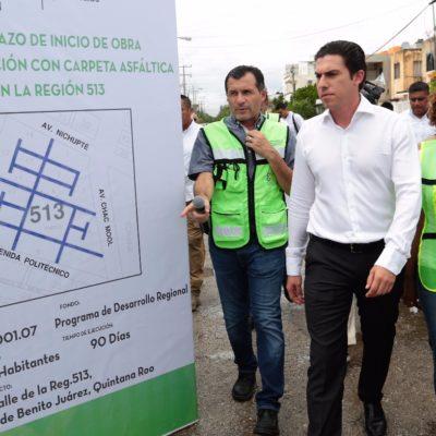 DAN BANDERAZO A OBRAS EN LA REGIÓN 513: Reahabilitarán pavimento por casi 16 mil 700 metros cuadrados