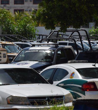 DESHUESADERO EN EL PATIO DE SEGURIDAD PÚBLICA: Más de 30 patrullas permanecen en el abandono en Cancún; son pocas las que circulan