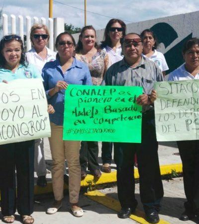 Protestan maestros del Conalep 1 de Cancún