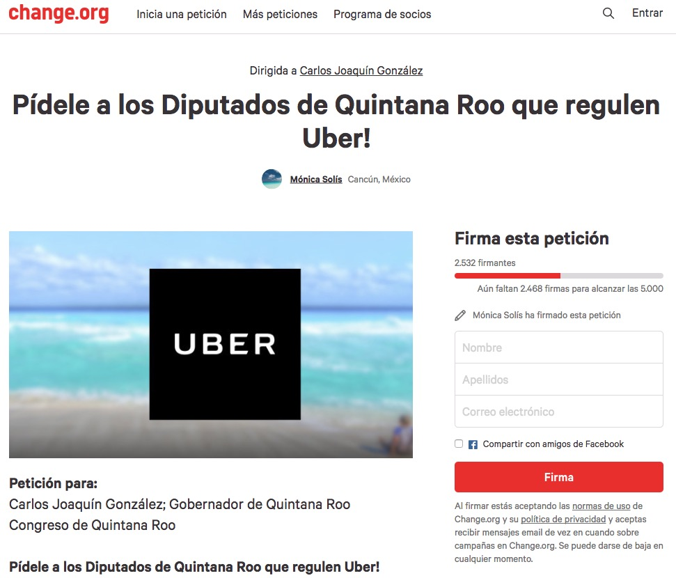 """""""¡QUEREMOS DECIDIR CÓMO MOVERNOS!"""": Lanzan petición de firmas para que Uber se quede en Cancún"""