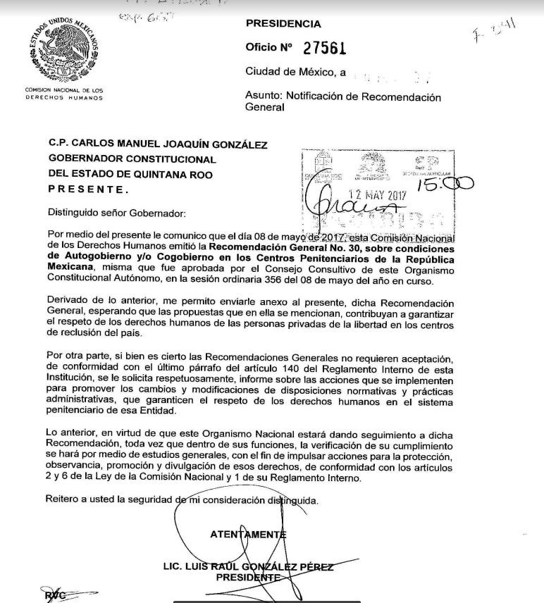 Recomendaciones de la CNDH al Gobierno de QR para atender el problema de autogobierno y/o cogobierno en la cárcel de Cancún
