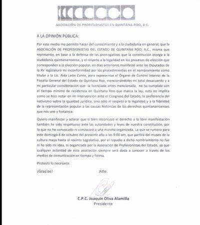 Se desliga presidente de Asociación de Profesionistas de marcha convocada para el 8 de octubre en Chetumal