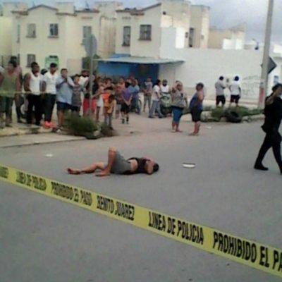 DRAMA FAMILIAR EN VILLAS OTOCH: En riña, un hombre balea a su esposa en plena calle en la Región 259 de Cancún