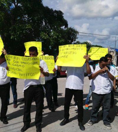 ESTALLA PROTESTA EN ENCIERRO DE TURICUN: Tensión en manifestación de choferes del transporte urbano de Cancún por 'fuerzas de choque' de la empresa