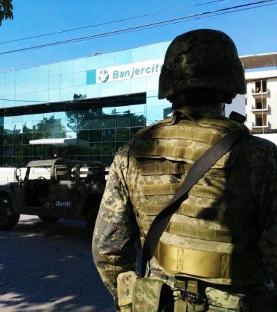 HALLAN ARTEFACTOS SOSPECHOSOS: Alerta de bomba en Banjercito de la Náder en Cancún