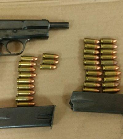 Aseguran Federales armas y cartuchos en Cancún