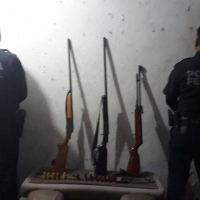 Caen presuntos ladrones de camión con armas largas y cortas en el sur de QR