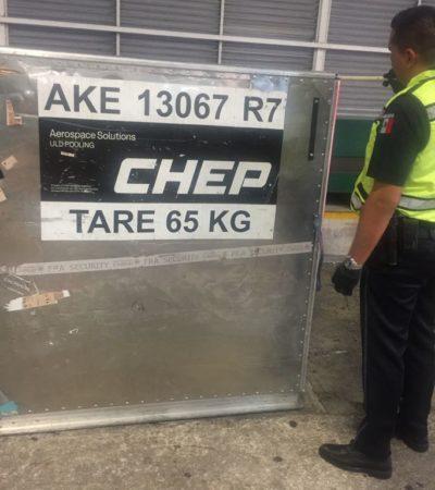 Hallan droga oculta en contenedor de equipaje en el aeropuerto de Cancún; personal podría estar implicado