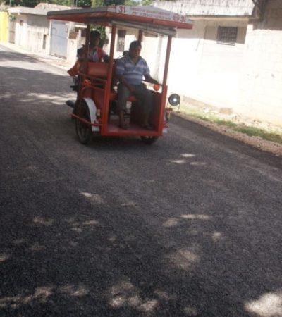 Avanza programa de pavimentación en Leona Vicario