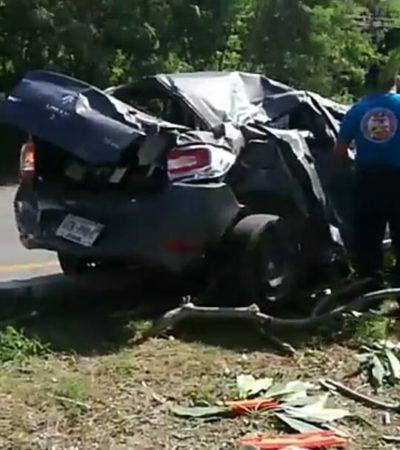 Provoca accidente al dormirse al volante en la vía Playa-Cancún