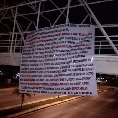 """""""NOSOTROS LOS QUE VIVIMOS SÓLO DEL PASAJE VIVIMOS CON MIEDO"""": 'Verdaderos taxistas' acusan en lona a dirigencia en Cancún de narcomenudeo"""