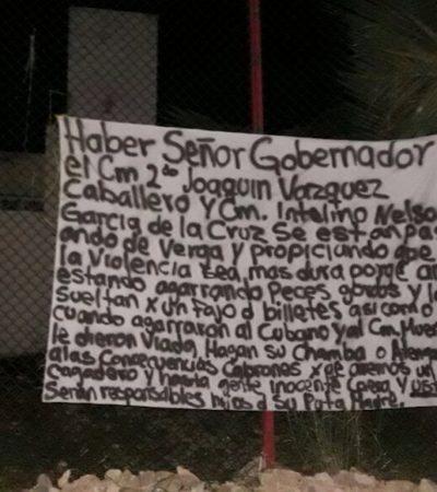 Cuelgan presunta narcomanta con mensaje dirigido al Gobernador para denunciar a supuesta corrupción de policías