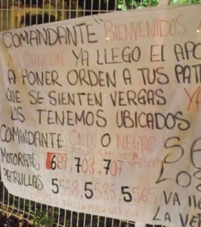 Cuelgan otras dos narcomantas en Cancún