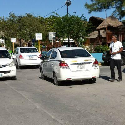 Protestan taxistas en Puerto Morelos contra Uber