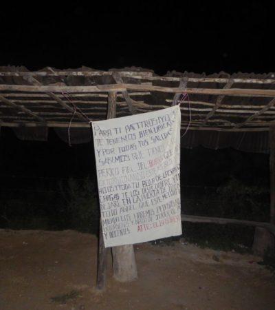 Aparece supuesta narcomanta en la zona de invasión del fraccionamiento In House de Playa del Carmen
