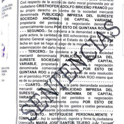 Ganan abogados demanda a periódico por difamación y Por Esto! tendrá que pagar 64 mil pesos