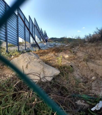 REANUDAN OBRAS DE HOTEL JUNTO A PLAYA DELFINES: Colocan vallas metálicas en el predio del polémico proyecto Gran Solaris Cancún