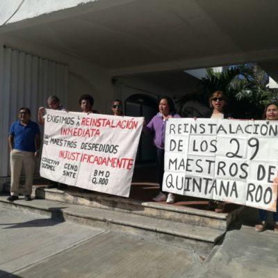 Piden maestros despedidos intervención del Gobernador ante retraso de la JLCA para emitir laudo tras demanda laboral