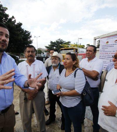 PROTESTA DE TRANSPORTISTAS EN CANCÚN: Propietarios de unidades de carga reclaman trabajo al Ayuntamiento; rechaza comuna favoritismos porque servicios se licitaron