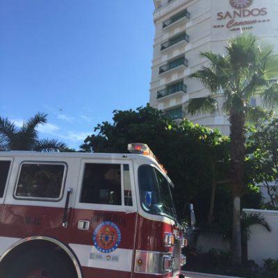 Realizan simulacro de incendio en hotel Sandos Cancún