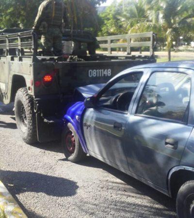 Hummer del Ejército se ve involucrada en accidente en Cancún