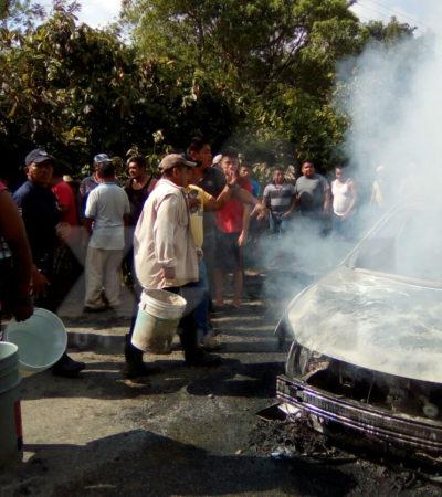 Ejecutan y calcinan en su auto a presunto 'huachicolero' en Cárdenas