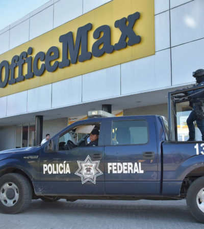 ACTUALIZACIÓN   Robo a mano armado en Office Max de Cancún fue a una cuentahabiente que retiró $56 mil de una sucursal bancaria y entró a la tienda a sacar copias