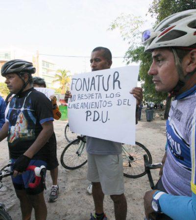 Protestan deportistas por obras de Fonatur en el kilómetro Cero de la Zona Hotelera