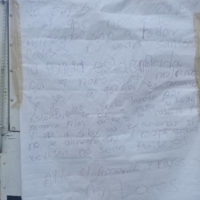 Amenazan a policías con 'narcocartulina' en la Región 249