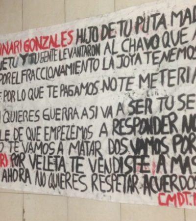 Aparece presunta narcomanta en Playa del Carmen con amenazas a funcionario policiaco estatal