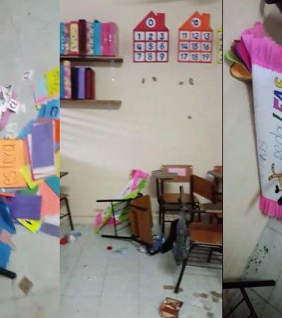 CRÓNICA DE UN ROBO ANUNCIADO: Por segunda ocasión en menos de 4 días, y después de protesta de padres, vuelven a saquear escuela primaria en la SM 61 de Cancún