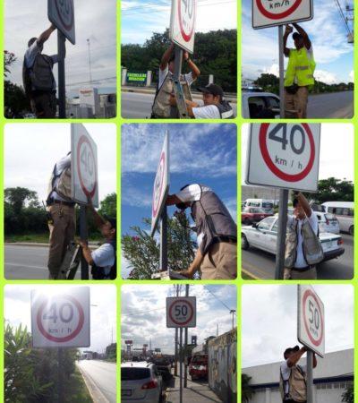 Retiran señalamientos de tránsito que provocaban infracciones injustas en la Portillo de Cancún