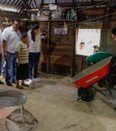Ponen en marcha trabajos de construcción de piso firme en Leona Vicario