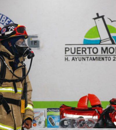 Entrega Laura Fernández equipo a bomberos de la delegación de Leona Vicario
