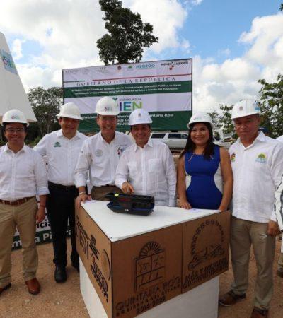Pone Gobernador la primera piedra de la construcción de la segunda etapa de la Uqroo en Cancún