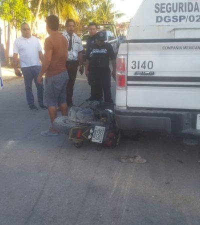 Arrolla camión de Cometra a un motociclista en Playa del Carmen