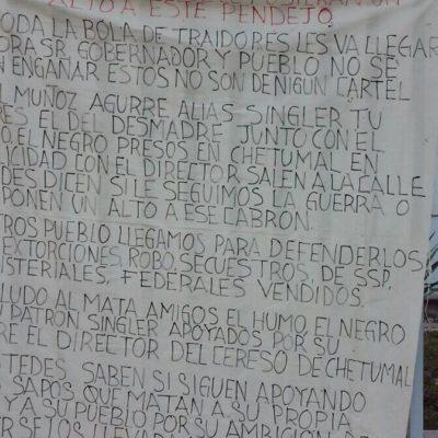 Con manta, desde Cancún amenazan a director de cárcel de Chetumal