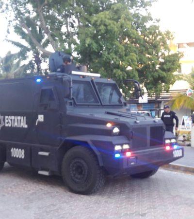 MUESTRAN POLICÍAS 'MÚSCULO': Llegan camiones 'Rhino' para reforzar seguridad en Cancún y Playa