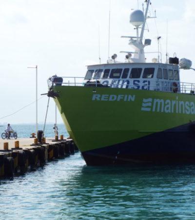 Llegan barcos cargueros a Cancún para dar servicio en las rutas Puerto Juárez-Isla Mujeres y Playa del Carmen-Cozumel