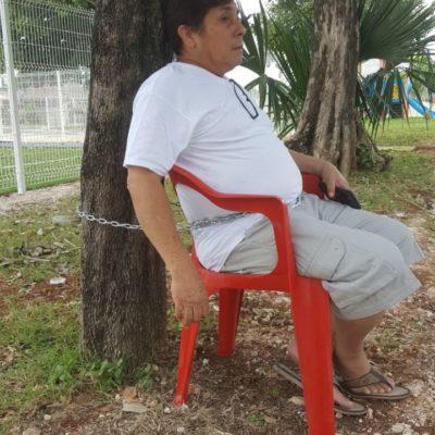 Se encadena para salvar árboles en Chetumal