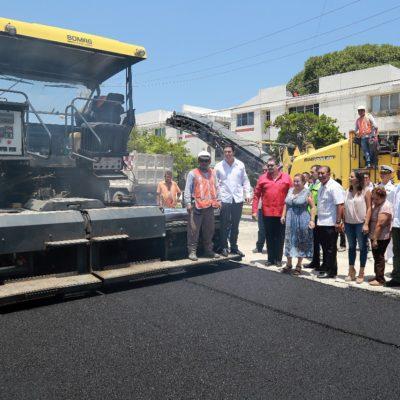 Reportan avance de pavimentación de calles en la regiones 506, 507 y 513 y en la Avenida 135 de Cancún